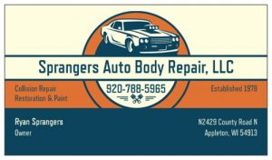 sprangers autobody business card